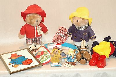 Vintage Paddington Bear Collection Two Bears, extra clothes, signed art print
