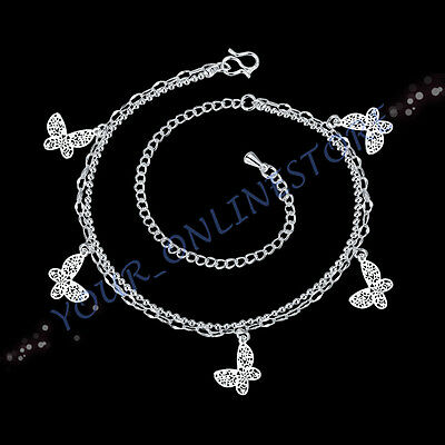 Stunning 925 Sterling Silver Plated Floating Butterfly Double Chain Anklet