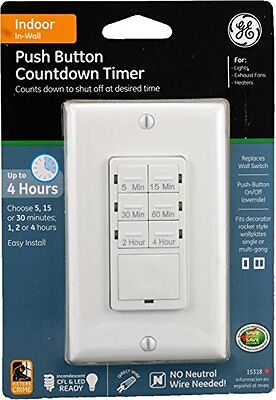 GE 15318 Push Button In-Wall Digital Countdown Timer