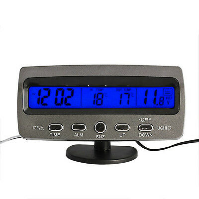 Vehicle Car Frost Freeze Alert Thermometer Voltage Meter Digital Clock