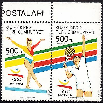 Turkish Cypriot Posts 1992 500l Olympics Se-Tenant Pair MUH