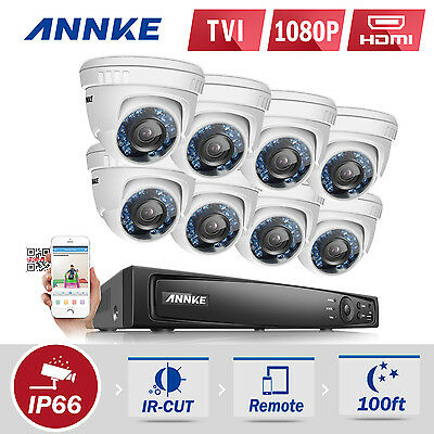ANNKE 8CH Full 1080P TVI Security DVR 8x 2MP Video In Outdoor Cameras System Kit