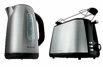 Hotpoint Stainless Steel Jug Kettle & 2 Slice Toaster Set - Brand New UK Stock !