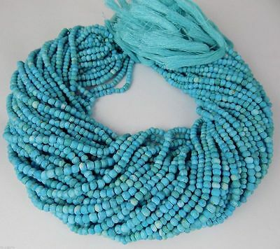 "5 Strand Natural Turquoise Gemstone Faceted Rondelle Beads Bead 3-4mm 13"" Long"