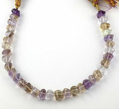 1 Strand Natural Ametrine Faceted Twisted Cushion Drilled Loose Gemstone Beads