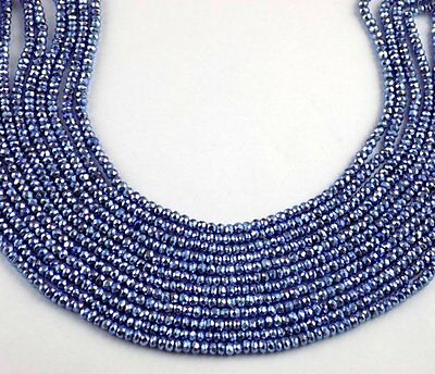 """5 Strand Tanzanite Pyrite Faceted Gemstone Rondelle Beads 3.5-4mm 13"""" Long Bead"""