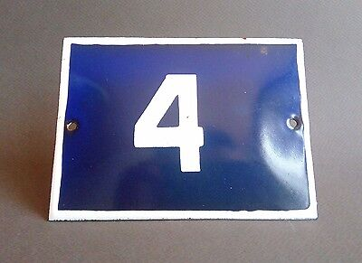 VINTAGE ENAMEL Number 4 PORCELAIN TIN SIGN Plate HOME / HOUSE DOOR NUMBER 4