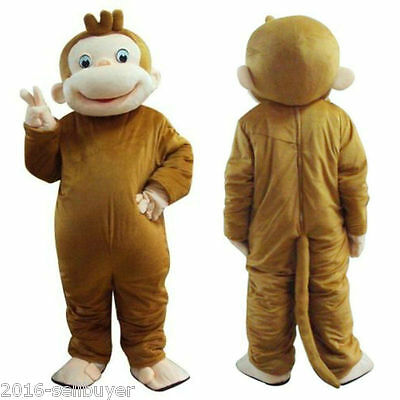 George Monkey Adult Mascot Costume Fancy Dress Clothing for Festival Party