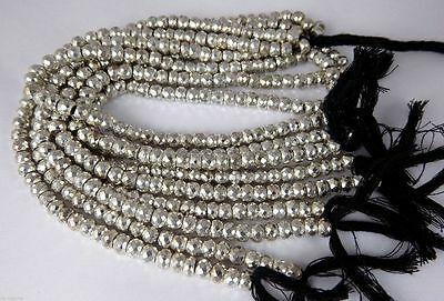 """1 Strand Natural Silver Pyrite Faceted Gemstone Rondelle Beads Bead 7"""" Long"""
