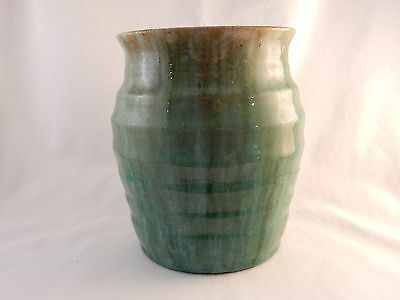 LARGE John Campbell Tasmania Green Ribbed Drip Glaze Vase Bowl - As Found A/F
