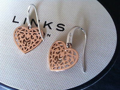 New Links Of London Tapestry Sterling Silver And Rose Gold Heart Earrings Bnib