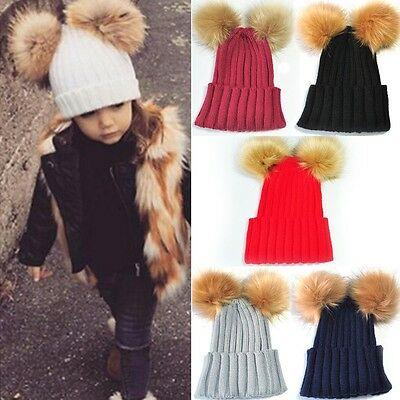 Toddler Child Kids Knit Bobble Hat Boys Girl Dual Fur Pom Winter Warm Beanie Cap