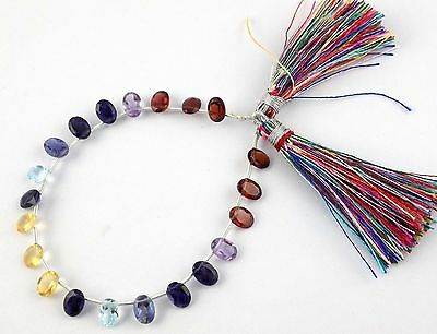 1 STRAND NATURAL MIX MULTI GEMSTONE 5x7MM OVAL NORMAL CUT BEADS STRAND