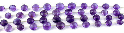 "1 Strand Natural Purple Amethyst Briolette Hexagon Drilled Beads 7"" Long"