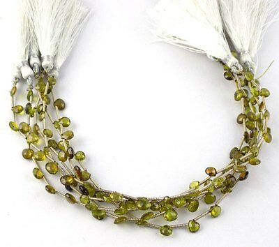 """1 Strand Natural Chrysoberyl Briolette Heart Drilled 5x5-5.5x5.5 Beads 8"""" Long"""