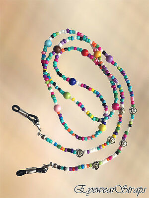 MULTI COLOURED & Silver Flower Beaded Glasses Sunglasses Chain Strap Cord Holder