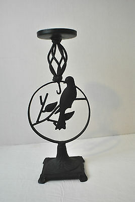 "Vintage Black Cast Iron Candle Holder With Bird And Leaf Pattern 13 2/8"" Tall"