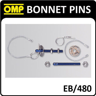 Eb/480 Omp Racing Bonnet Pins Small Pin Stainless Steel M10 Aluminium Blue
