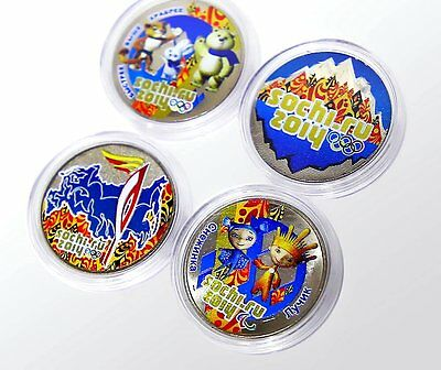 """Russia 2014 Olympic Sochi Sotchi """"Ice & Fire"""" 4 colored coins x 25 Rbl"""