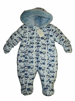 Zip Zap Baby Boys Cars Truck Blue Fur Hood Hooded Snowsuit Mitts 3 Months