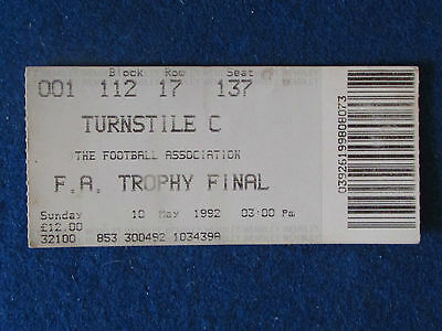 F.A.Trophy Final Ticket - 10/5/1992 - Colchester United v Witton Albion