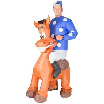 Adult Funny Inflatable Horse Jockey Fancy Dress Costume Outfit Stag Do Halloween