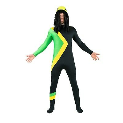 Adult Cool Rasta Jamaican Bobsleigh Bobsled Fancy Dress Costume Outfit Halloween