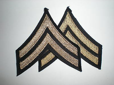 Us Army Wwii Corporal Rank Stripes - Original On Twill -- 1 Pair