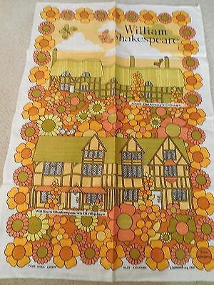 VINTAGE 1960's FLOWER POWER COTTON TEA TOWEL - JULIA KILLINGBACK - SHAKESPEARE