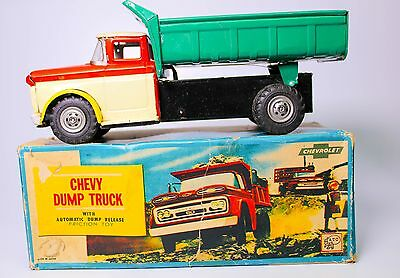 Vintage Japanese Asahi Tin Friction Chevy Dump Truck W/auto Dump Release Boxed!