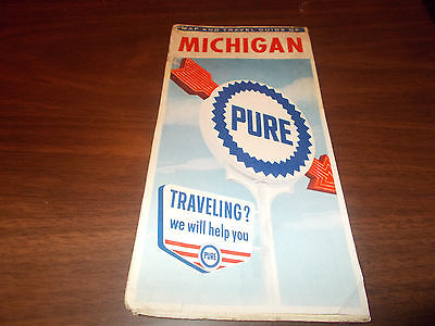 1962 Pure Oil Michigan Vintage Road Map