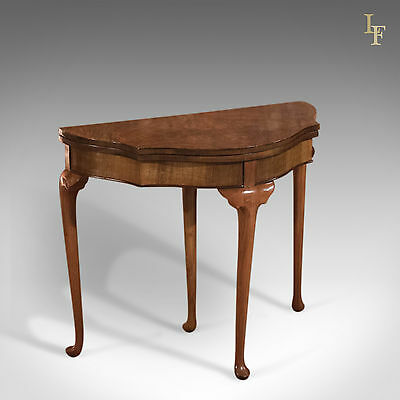 Antique Fold Over Card Table, Edwardian, Walnut, Side, Lamp, Games, c.1910