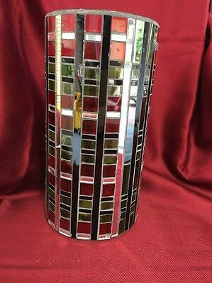 Pillar Candle Holder Holiday Vase Stained Glass Plaid Red Green Mirrored DF