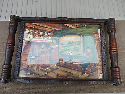 VINTAGE FRENCH HAND PAINTED WOODEN SERVING TRAY St NAZAIRE UNDERGLASS PAINTING