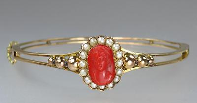 Gorgeous Antique Victorian 9K Gold Coral Cameo Seed Pearl Bangle Bracelet 1900