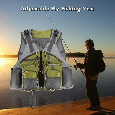 Outdoor Adjustable Fly Fishing Vest Mesh Premium Gear Backpack Army green X2P6