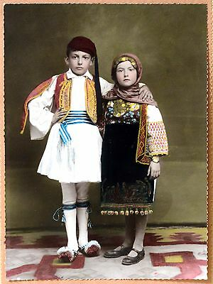 """Vintage Photo """"Greek Children Dress In Traditional Costumes"""""""