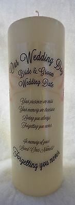 Personalised Wedding Candle Memorial Remembrance Absence Candle 2 Doves (Large)