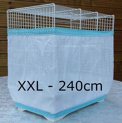 Bird cage tidy seed catcher guard pile fabric double strap White XXL 240cm