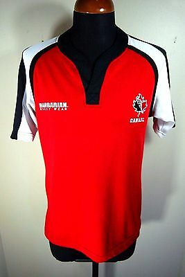 Men's Barbarian Rugby Wear Canada Pro Fit Sewn Red Jersey Shirt Large 7s