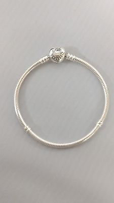 PANDORA Charm Bracelet Sterling Silver With Heart Clasp 590719