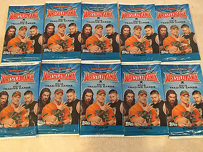 Lot of 10 2016 TOPPS ROAD TO WRESTLEMANIA 4 CARD PACK NEW