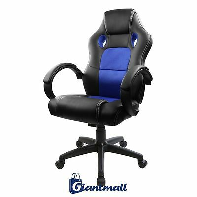 Blue/Black Swivel Leather Racing Seat Style Mesh Bucket Office Desk Gaming Chair