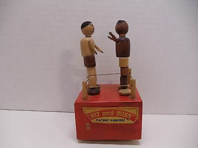 1940s VINTAGE WOODEN PUSH BUTTON PUPPET BOXERS HIT and MISS