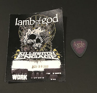 Lamb of God Backstage 2013 Tour Working Pass w/ Guitar Pick Killswitch Engage
