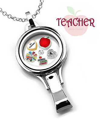 TEACHER 30mm Memory Locket Lanyard Badge ID Set #1 Floating Charms & Rolo Chain