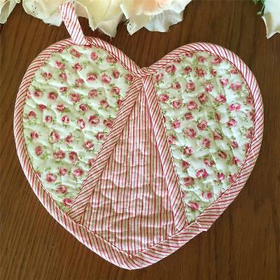 Vintage Style Pink Rose Buds Heart Shape Quilted Cotton Pot Holder / Placemat