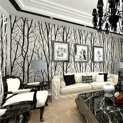 3D Trees Forest Woods Wallpaper Roll Embossed Viny Mural Background Home Decor