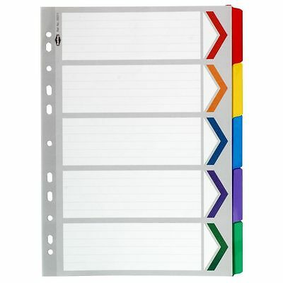 Marbig Dividers A4 5 Plastic Coloured Tabs