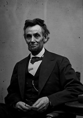 Last Photo of Abraham Lincoln, 1865 Portrait Holding Spectacles and Pencil